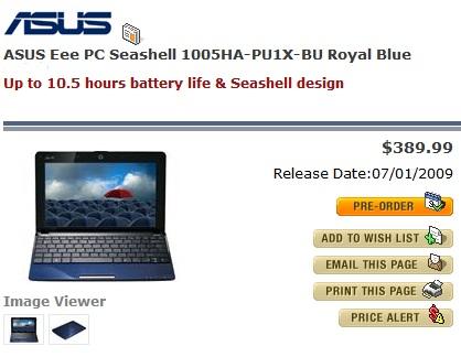 Asus Eee PC Seashell 1005HA Pre-order for $389.99
