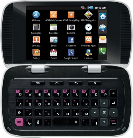 AT&T Samsung DoubleTime Flip-style Dual-screen QWERTY Smartphone open