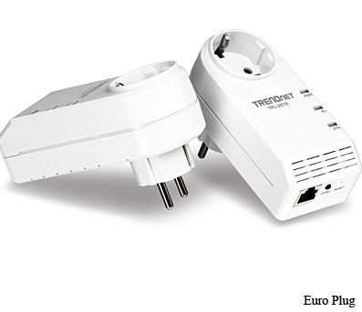 TRENDnet TPL-307E 200Mbps Powerline AV Adapter with Bonus Plug euro plug