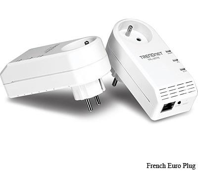 TRENDnet TPL-307E 200Mbps Powerline AV Adapter with Bonus Plug french euro
