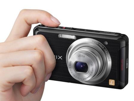 Panasonic LUMIX DMC-FX90 WiFi-enabled Digital Camera on hand
