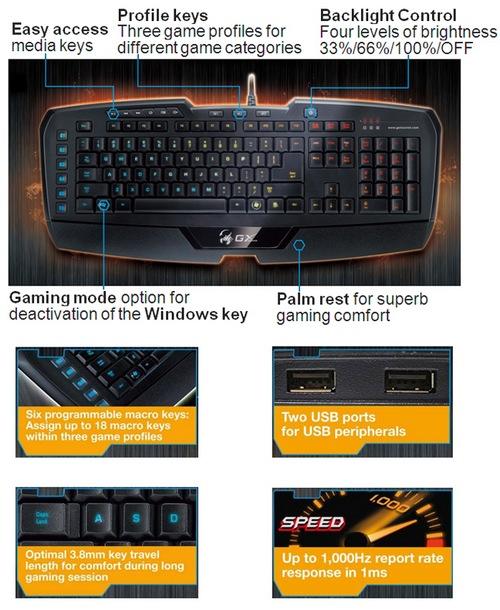 Genius Imperator Pro Professional MMORPG RTS Gaming Keyboard details