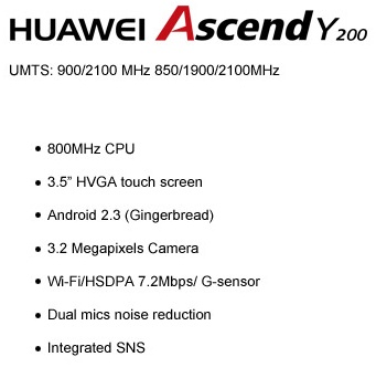 Huawei Ascend Y200 Entry-level Android Phone Specs