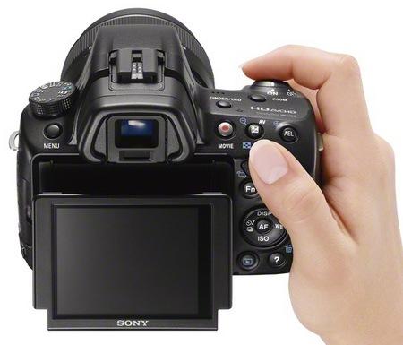 Sony Alpha SLT-A37 Entry-level DSLR Camera on hand