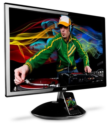 AOC AIRE iPLAY e2343Fi LCD Display with iPhone Dock