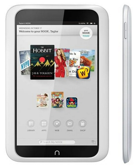 Barnes & Noble NOOK HD Highest Resolution 7-inch Tablet front and side