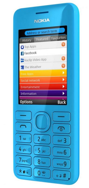 Nokia 206 S40 phone with slam cyan