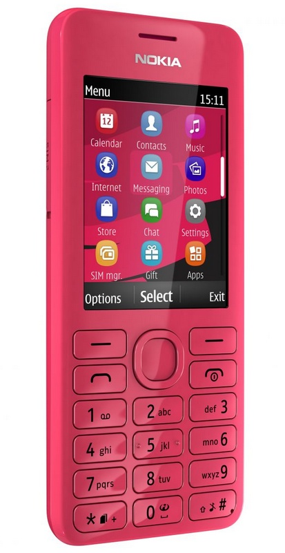 Nokia 206 S40 phone with slam magenta