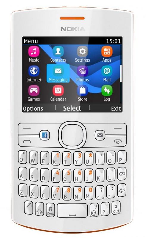 Nokia Asha 205 S40 qwerty phone facebook button white orang