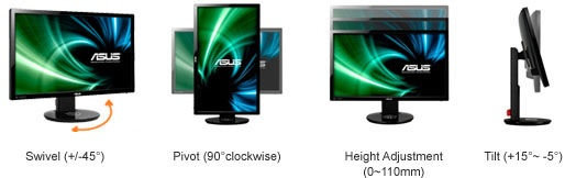 Asus VG248QE Full HD Gaming Display with 144Hz Refresh Rate stand