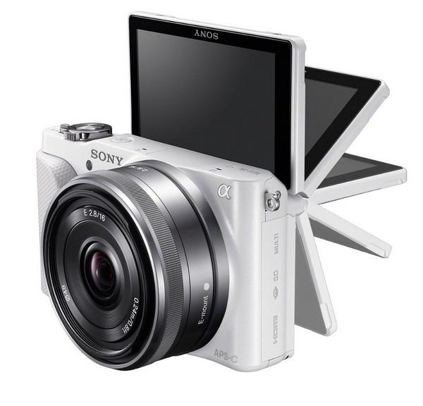 Sony Alpha NEX-3N Mirrorless Camera flipping screen