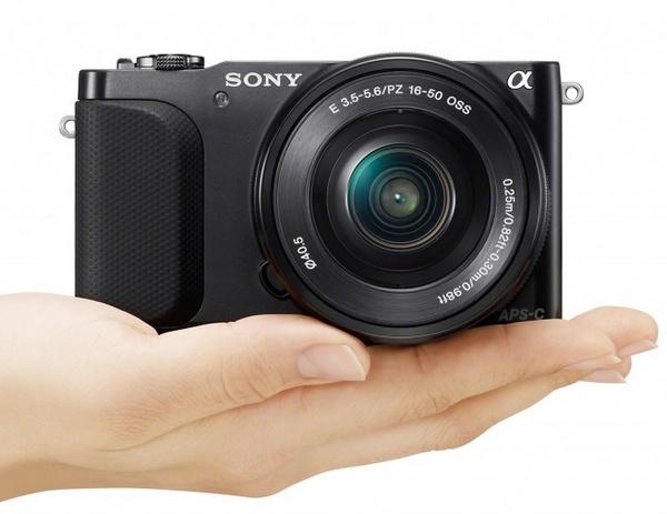 Sony Alpha NEX-3N Mirrorless Camera on hand